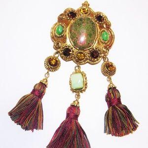 Vintage Lacroix Tassled Multi Jeweled Brooch